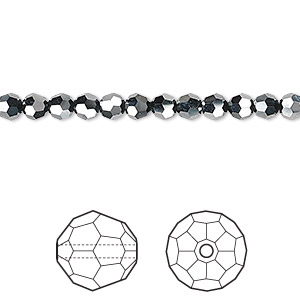 bead, swarovski crystals, crystal passions, jet hematite 2x, 4mm faceted round (5000). sold per pkg of 12.