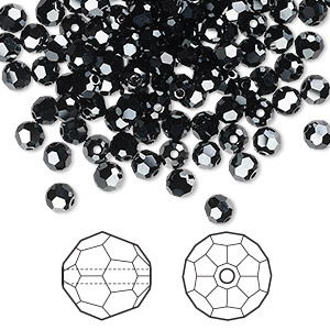 bead, swarovski crystals, crystal passions, jet hematite 2x, 4mm faceted round (5000). sold per pkg of 144 (1 gross).