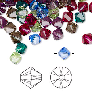 bead, swarovski crystals, crystal passions, jewel, 6mm xilion bicone (5328). sold per pkg of 24.