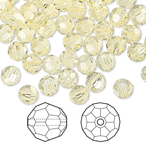 bead, swarovski crystals, crystal passions, jonquil, 6mm faceted round (5000). sold per pkg of 144 (1 gross).