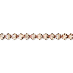 bead, swarovski crystals, crystal passions, jonquil antique pink, 4mm xilion bicone with 0.8mm hole (5328). sold per pkg of 48.