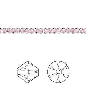 bead, swarovski crystals, crystal passions, light amethyst, 3mm xilion bicone (5328). sold per pkg of 48.