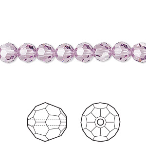 bead, swarovski crystals, crystal passions, light amethyst, 6mm faceted round (5000). sold per pkg of 12.