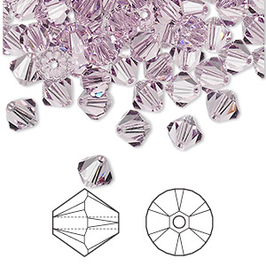 bead, swarovski crystals, crystal passions, light amethyst, 6mm xilion bicone (5328). sold per pkg of 144 (1 gross).