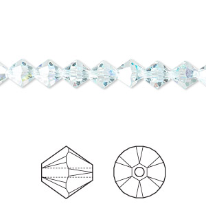 bead, swarovski crystals, crystal passions, light azore ab, 6mm xilion bicone (5328). sold per pkg of 24.