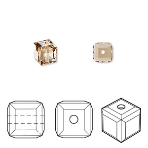 bead, swarovski crystals, crystal passions, light colorado topaz, 6x6mm faceted cube (5601). sold per pkg of 6.