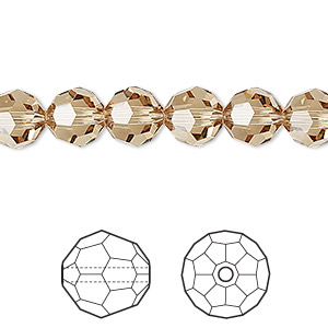 bead, swarovski crystals, crystal passions, light colorado topaz, 8mm faceted round (5000). sold per pkg of 12.