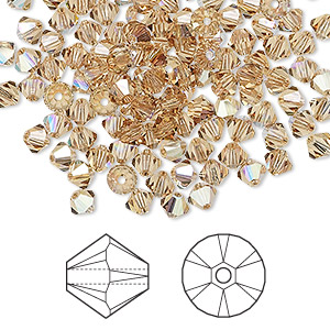 bead, swarovski crystals, crystal passions, light colorado topaz ab, 4mm xilion bicone (5328). sold per pkg of 144 (1 gross).