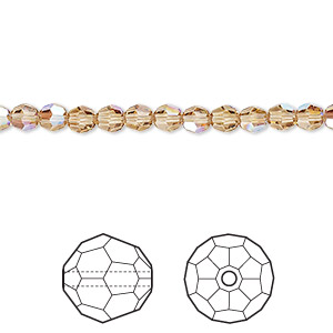 bead, swarovski crystals, crystal passions, light colorado topaz shimmer, 4mm faceted round (5000). sold per pkg of 12.