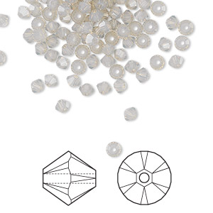 bead, swarovski crystals, crystal passions, light grey opal, 3mm xilion bicone (5328). sold per pkg of 144 (1 gross).