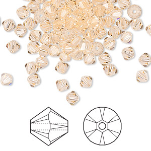 bead, swarovski crystals, crystal passions, light peach, 4mm xilion bicone (5328). sold per pkg of 144 (1 gross).