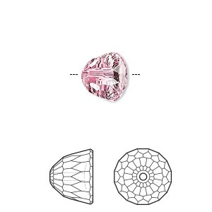 bead, swarovski crystals, crystal passions, light rose, 10x8mm faceted dome small (5542). sold per pkg of 6.