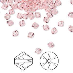 bead, swarovski crystals, crystal passions, light rose, 4mm xilion bicone (5328). sold per pkg of 144 (1 gross).