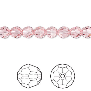 bead, swarovski crystals, crystal passions, light rose, 6mm faceted round (5000). sold per pkg of 12.