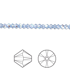 bead, swarovski crystals, crystal passions, light sapphire shimmer, 3mm xilion bicone (5328). sold per pkg of 48.