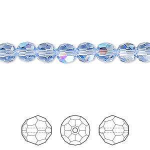 bead, swarovski crystals, crystal passions, light sapphire shimmer, 6mm faceted round (5000). sold per pkg of 12.