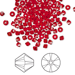 bead, swarovski crystals, crystal passions, light siam, 3mm xilion bicone (5328). sold per pkg of 48.