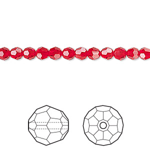 bead, swarovski crystals, crystal passions, light siam, 4mm faceted round (5000). sold per pkg of 12.