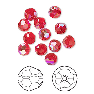 bead, swarovski crystals, crystal passions, light siam ab, 6mm faceted round (5000). sold per pkg of 12.
