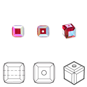 bead, swarovski crystals, crystal passions, light siam ab, 6x6mm faceted cube (5601). sold per pkg of 48.