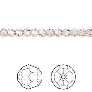 bead, swarovski crystals, crystal passions, light silk, 4mm faceted round (5000). sold per pkg of 144 (1 gross).