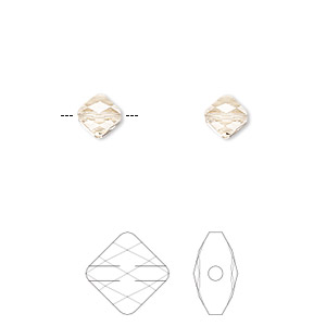 bead, swarovski crystals, crystal passions, light silk, 6x6mm faceted mini rhombus (5054). sold per pkg of 2.