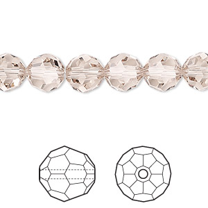 bead, swarovski crystals, crystal passions, light silk, 8mm faceted round (5000). sold per pkg of 12.