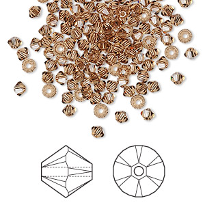 bead, swarovski crystals, crystal passions, light smoked topaz, 3mm xilion bicone (5328). sold per pkg of 48.
