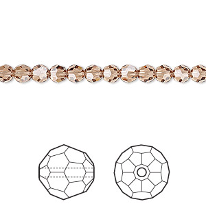 bead, swarovski crystals, crystal passions, light smoked topaz, 4mm faceted round (5000). sold per pkg of 12.