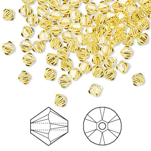 bead, swarovski crystals, crystal passions, light topaz, 4mm xilion bicone (5328). sold per pkg of 144 (1 gross).
