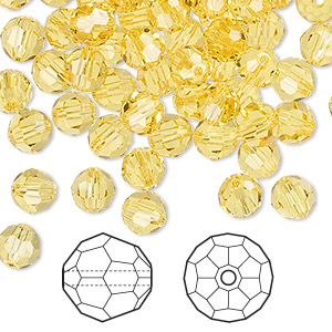 bead, swarovski crystals, crystal passions, light topaz, 6mm faceted round (5000). sold per pkg of 144 (1 gross).
