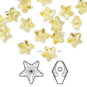 bead, swarovski crystals, crystal passions, light topaz, 8x8mm faceted star (5714). sold per pkg of 8.