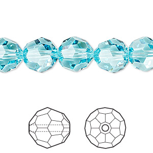 bead, swarovski crystals, crystal passions, light turquoise, 10mm faceted round (5000). sold per pkg of 24.