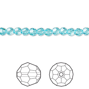 bead, swarovski crystals, crystal passions, light turquoise, 4mm faceted round (5000). sold per pkg of 144 (1 gross).
