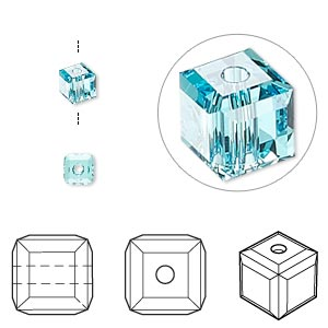 bead, swarovski crystals, crystal passions, light turquoise, 4x4mm faceted cube (5601). sold per pkg of 48.