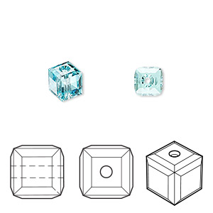 bead, swarovski crystals, crystal passions, light turquoise, 6x6mm faceted cube (5601). sold per pkg of 6.
