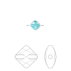 bead, swarovski crystals, crystal passions, light turquoise, 6x6mm faceted mini rhombus (5054). sold per pkg of 2.