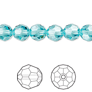 bead, swarovski crystals, crystal passions, light turquoise, 8mm faceted round (5000). sold per pkg of 12.