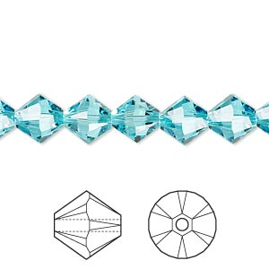 bead, swarovski crystals, crystal passions, light turquoise, 8mm xilion bicone (5328). sold per pkg of 72.