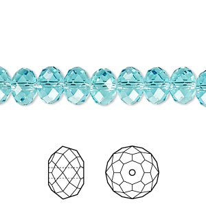 bead, swarovski crystals, crystal passions, light turquoise, 8x6mm faceted rondelle (5040). sold per pkg of 12.
