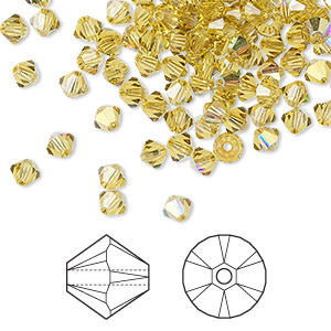 bead, swarovski crystals, crystal passions, lime ab, 4mm xilion bicone (5328). sold per pkg of 48.