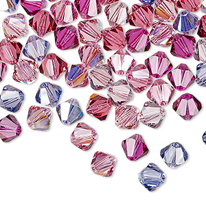 bead, swarovski crystals, crystal passions, love struck, 6mm xilion bicone (5328). sold per pkg of 144 (1 gross).