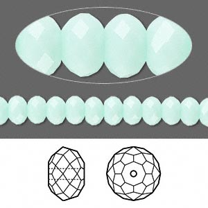 bead, swarovski crystals, crystal passions, mint alabaster, 6x4mm faceted rondelle (5040). sold per pkg of 12.
