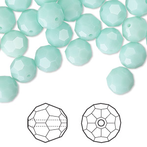 bead, swarovski crystals, crystal passions, mint alabaster, 8mm faceted round (5000). sold per pkg of 144 (1 gross).