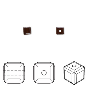 bead, swarovski crystals, crystal passions, mocca, 4x4mm faceted cube (5601). sold per pkg of 48.