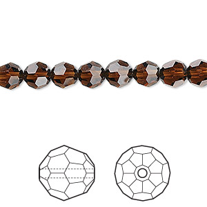 bead, swarovski crystals, crystal passions, mocca, 6mm faceted round (5000). sold per pkg of 12.