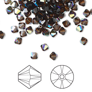 bead, swarovski crystals, crystal passions, mocca ab, 4mm xilion bicone (5328). sold per pkg of 144 (1 gross).