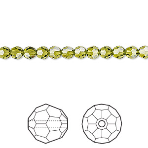 bead, swarovski crystals, crystal passions, olivine, 4mm faceted round (5000). sold per pkg of 12.