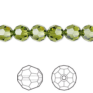 bead, swarovski crystals, crystal passions, olivine, 8mm faceted round (5000). sold per pkg of 12.