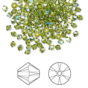bead, swarovski crystals, crystal passions, olivine ab, 3mm xilion bicone (5328). sold per pkg of 48.